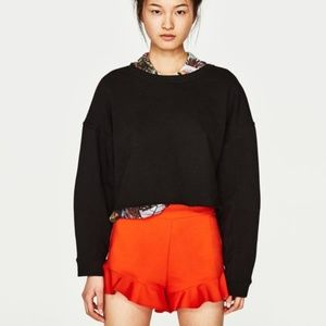 NWT Zara Orange Ruffle Shorts